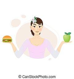 アップル, ハンバーガー, 女の子