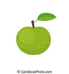 アップル, ベクトル, デザイン, イラスト, 平ら, アイコン, 緑