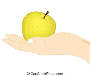 アップル, 中に, 手