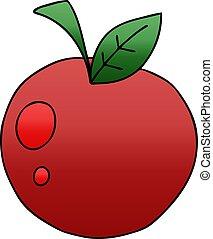 アップル, 勾配, quirky, 影で覆われる, 漫画, 赤