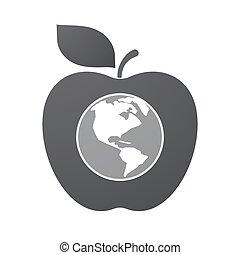 アップル, 地域, 隔離された, フルーツ, 世界, アメリカ, 地球