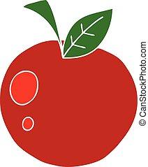 アップル, 手, quirky, 引かれる, 漫画, 赤