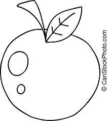 アップル, 漫画, quirky, 線画, 赤