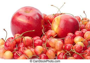 アップル, 熟した, 隔離された, 白, ネクタリン, さくらんぼ