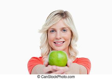 アップル, 緑, 保有物, 微笑の 女性, おいしい
