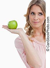 アップル, 緑, 保有物, 微笑の 女性, 若い