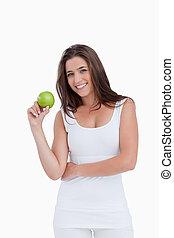 アップル, 緑, 保有物, 微笑, ブルネット, 女