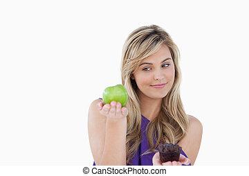 アップル, 緑, 平和である, 保有物, マフィン, 女, ブロンド