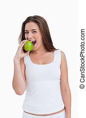 アップル, 緑, 微笑の 女性, 食べること