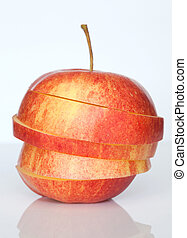 アップル, 隔離された, 赤, に薄く切る