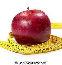 アップル, concept), 食事, (health, テープ, 背景, 白