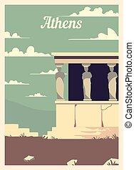 アテネ, レトロ, illustration., ベクトル, ポスター, 都市, 型, スカイライン