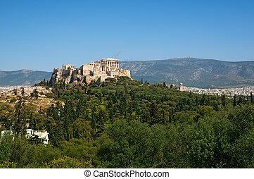 アテネ, greece., アクロポリス, 台なし