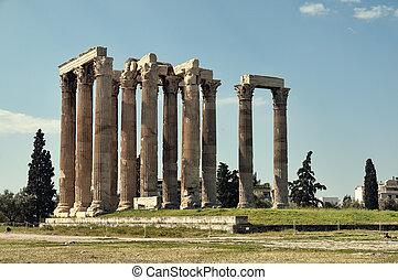 アテネ, zeus, 寺院, ギリシャ