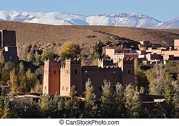 アトラス山脈, casbah, 背景, モロッコ