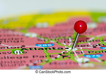 アトランタ, 都市, ピン, 上に, ∥, 地図