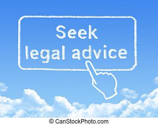 アドバイス, 法的, 形, メッセージ, 探しなさい, 雲