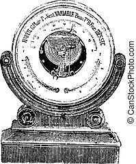 アネロイド気圧計, engraving., バロメーター, 型
