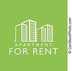 :, アパート, デザイン, 賃貸料, ラベル