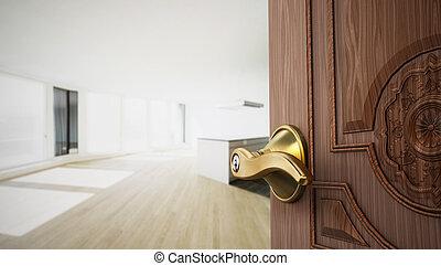 アパート, ドア, 開始, room., イラスト, 半分, 開いた, 空, 3d