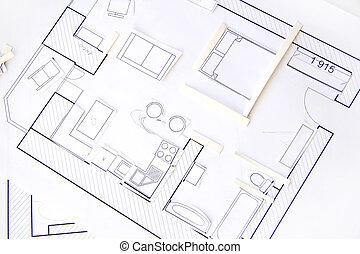 アパート, 上, -, ペーパー, デザイン, 内部, ビュー。, モデル