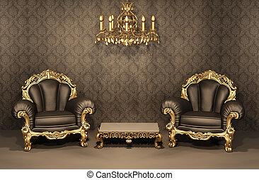 アパート, 古い, furniture., 金, フレーム, 贅沢, interior., 肘掛け椅子, バロック式, ...