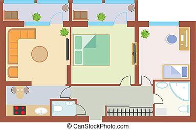 アパート, 図画
