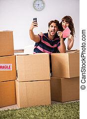 アパート, 家族, 家, 若い, 引っ越し, 新しい