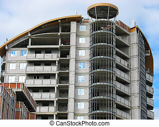 アパート, 家, 現代, 建設, 下に, 新しい