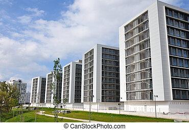 アパート, 現代, 新しい, 建物。