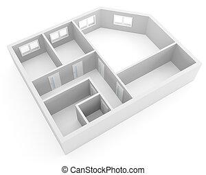 アパート, 窓, 現代, 計画, ドア, 空, 部屋