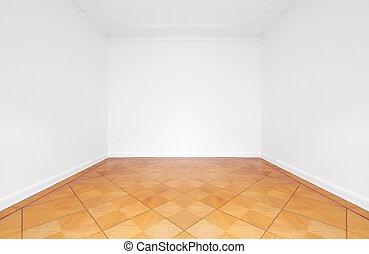 アパート, 部屋, 床, 木製である, 改装される, 寄せ木張りの床, 空