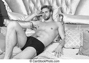 アパート, 魅力的, ベッド, ホテル, ロマンチック, バロック式, 弛緩, スタイル, relax., rococo, 人のサイズ, 贅沢, 筋肉, リラックスしなさい, resort., 型, 王, 人, pillows., bed., ボヘミアン, interior., 体