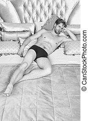 アパート, 魅力的, ベッド, 内部, ロマンチック, バロック式, hotel., 弛緩, スタイル, relax., rococo, 人のサイズ, 贅沢, 筋肉, リラックスしなさい, resort., 型, 王, 人, pillows., bed., ボヘミアン, 体