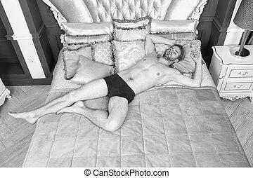 アパート, 魅力的, リゾート, ベッド, ロマンチック, バロック式, hotel., 弛緩, スタイル, relax., rococo, 人のサイズ, 贅沢, 筋肉, リラックスしなさい, 型, 王, 人, pillows., bed., ボヘミアン, interior., 体