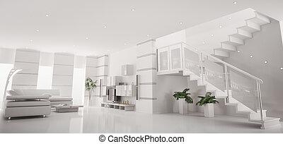 アパート, render, パノラマ, 現代, 内部, 白, 3d