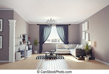 アパート, rendering), 現代, デザイン, 内部, (private, 3d