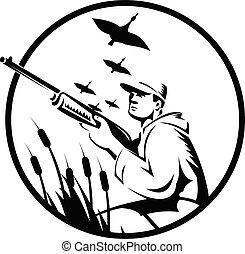 アヒル, 射手, 白, 黒い円, ハンター, ライフル銃, ∥あるいは∥, レトロ, 鳥