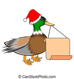 アヒル, 彼の, 大きい, ブランク, ペーパー, くちばし, クリスマス