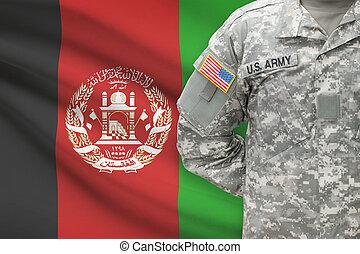 アフガニスタン, -, アメリカ人, 兵士, 旗, 背景
