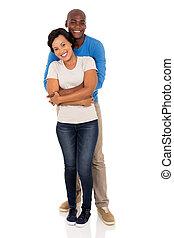 アフリカの男, 抱き合う, 彼の, ガールフレンド