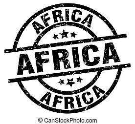 アフリカの黒, ラウンド, グランジ, 切手