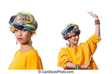 アフリカアメリカの 女性, 隔離された, 白