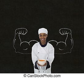 アフリカ系アメリカ人の女性, シェフ, ∥で∥, チョーク, 健康, 強い, 腕, 上に, 黒板, 背景