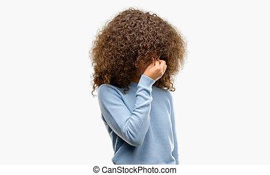 アフリカ系アメリカ人の女性, 身に着けていること, a, セーター, 疲れた, 摩擦, 鼻, そして, 目, 感じ, 疲労, そして, headache., ストレス, そして, 欲求不満, concept.