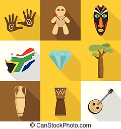 アフリカ, アイコン, セット, 平ら, スタイル