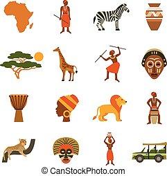 アフリカ, アイコン, セット