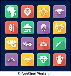 アフリカ, アイコン, 平ら, デザイン