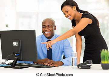 アフリカ, オフィス, 仕事, businesspeople