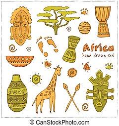 アフリカ, スケッチ, アイコン, セット